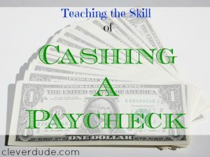 paystub, cashing a paycheck, earning money