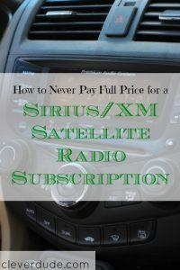 Sirius/XM satellite radio subscription, radio subscription, getting a good deal on a subscriptio