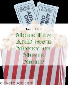 movie night, save money on movies, frugal movie night